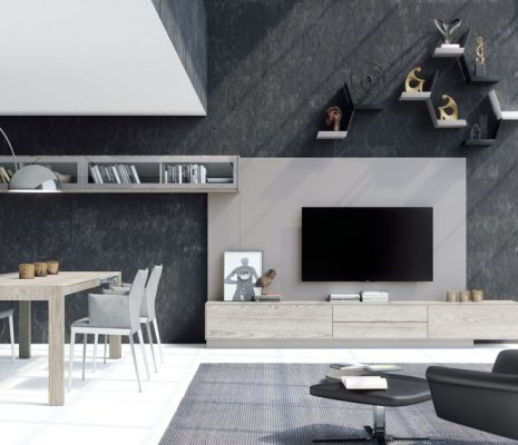 Mueble salón comedor en tonos claros