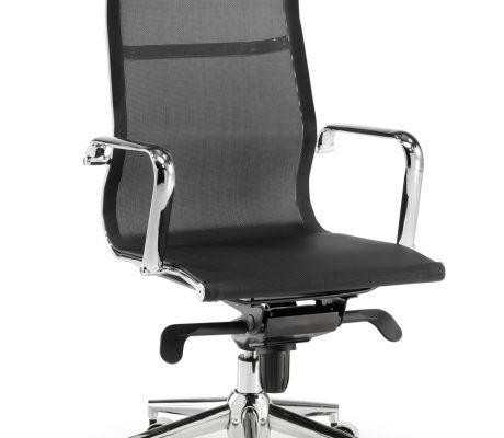 Cadira de despatx amb estructura d'acer cromat