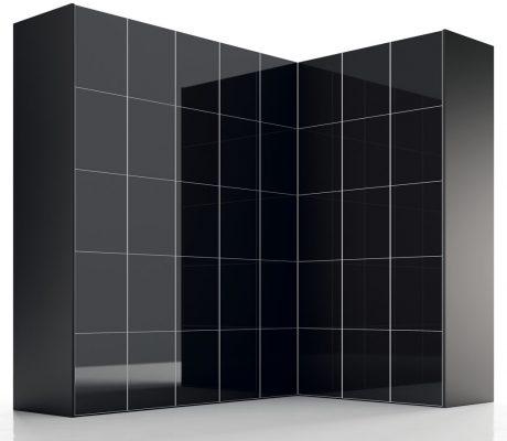 Armario esquinero puertas batientes negro brillante