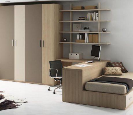 Habitació juvenil amb acabats fusta