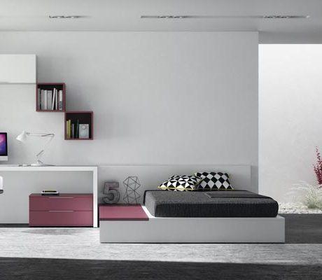 Habitació juvenil llit canapè amb armari portes batents amb combinació de colors