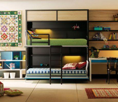 Habitació juvenil llits abatibles material pissarra